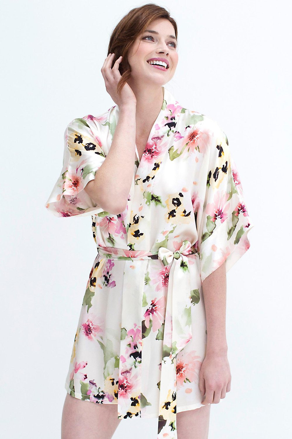 Samantha Silk Kimono Robe in Watercolor Dreams - style 300wp