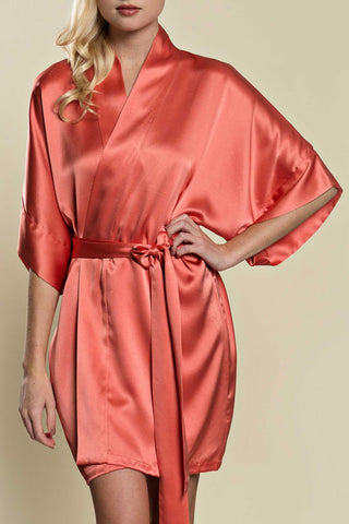 Swan Queen lace & silk bridal robe kimono in blush - style 104 blush