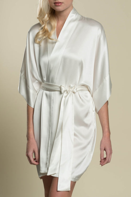 Samantha Silk Getting Ready Robe Bridal Kimono Bridesmaids Gift Ivory