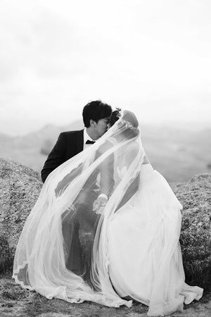 Santorini Silk tulle Scalloped Mantilla French Lace veil in Ivory
