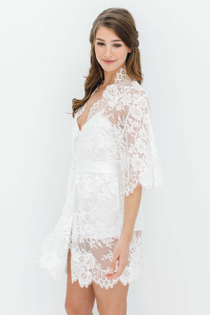 Swan Queen lace kimono bridal robe in Ivory