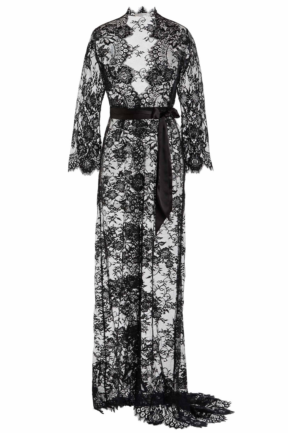 Swan Queen lace robe - bridal long dressing gown in black