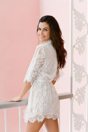 Swan Queen silk and lace robe kimono ivory + blush pink