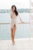 Swan Queen silk and lace robe kimono ivory + blush pink - style 104SH