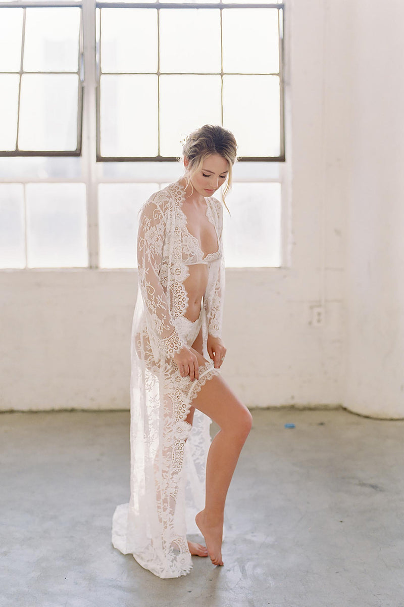 Swan Queen long bridal lace robe gown with scalloped train in Ivory