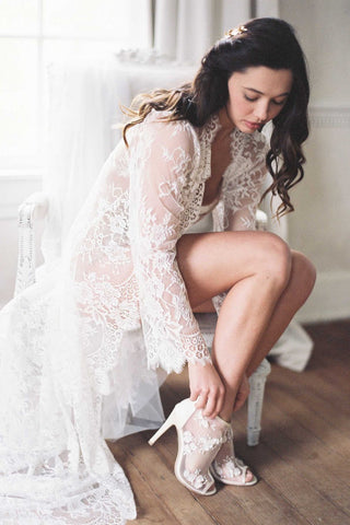 Swan Queen Bridal Lace robe kimono in Ivory with silk lining - style 104