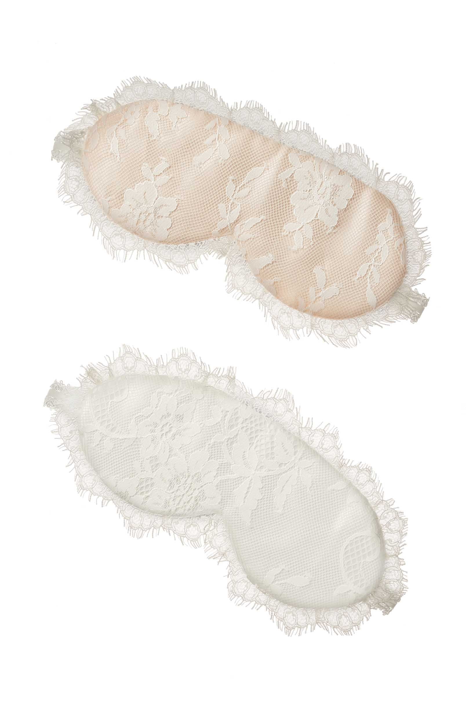 Swan Queen lace & silk Sleep mask in Ivory or Blush pink