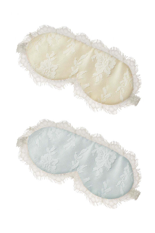 Swan Queen lace & silk Sleep mask in light blue or Champagne