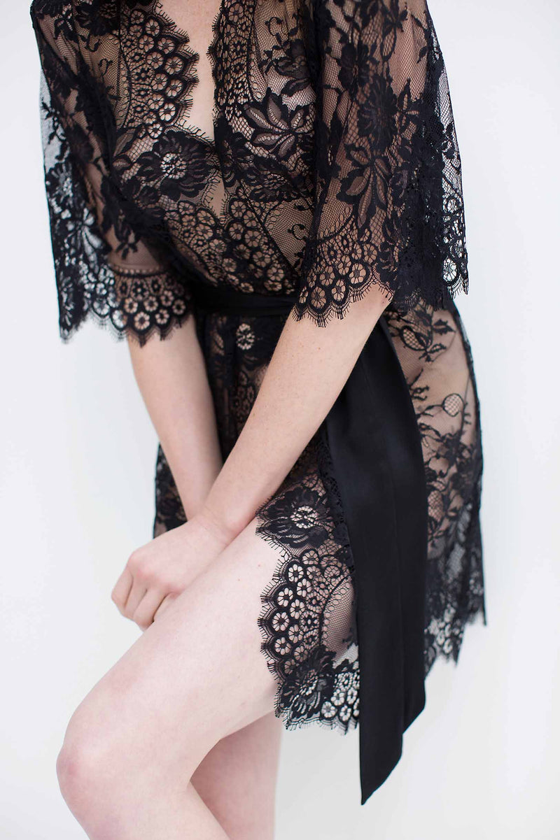 Swan Queen French lace kimono robe in Black