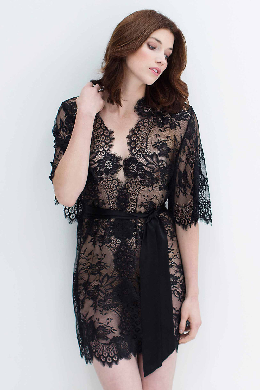 Swan Queen boudoir lace kimono robe in Black - style 102SH