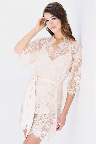 Swan Queen silk and lace robe kimono Ivory with silk lining - style 104SH