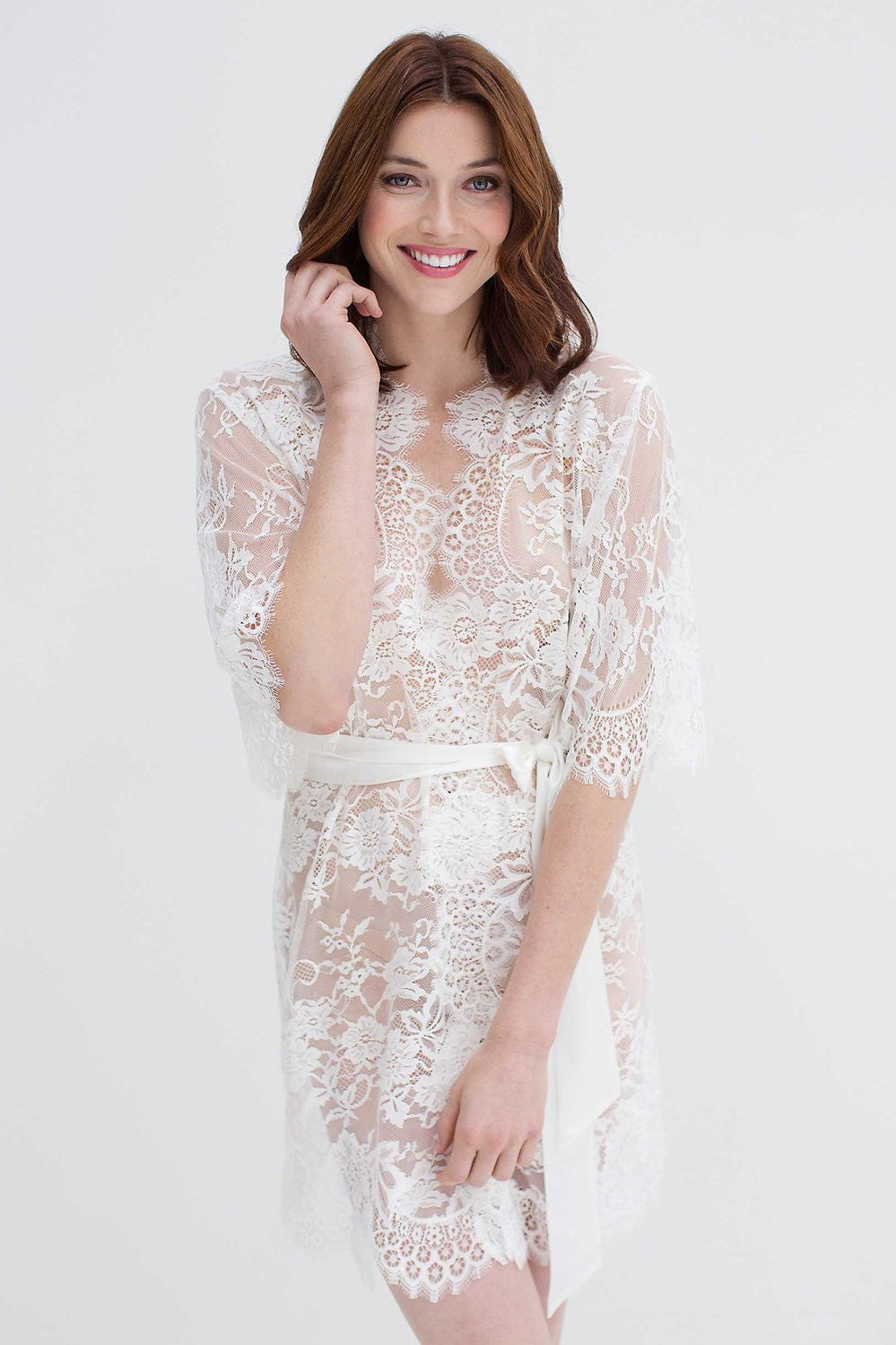 finest selection pick up top style Swan Queen lace kimono bridal robe in ivory - style 102SH