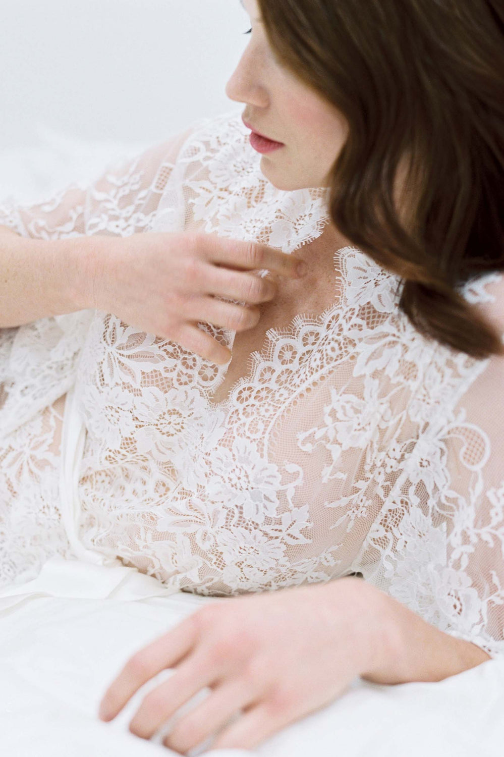 4702706a6ef ... Swan Queen lace kimono bridal robe in ivory - style 102SH ...