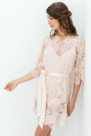 Swan Queen Bridal lace robe in Blush pink