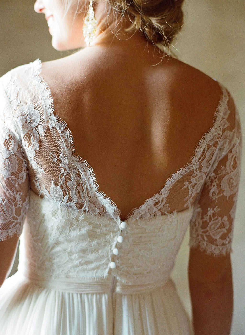 Tali French lace cover up V back topper in Ivory