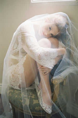 Boudoir Bridal Lace Robe in Ivory with bella bella shoes