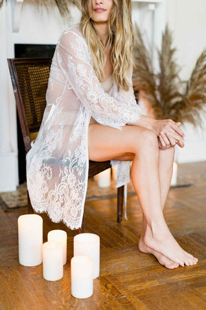 Boudoir Bridal Lace Robe in Ivory destination venue