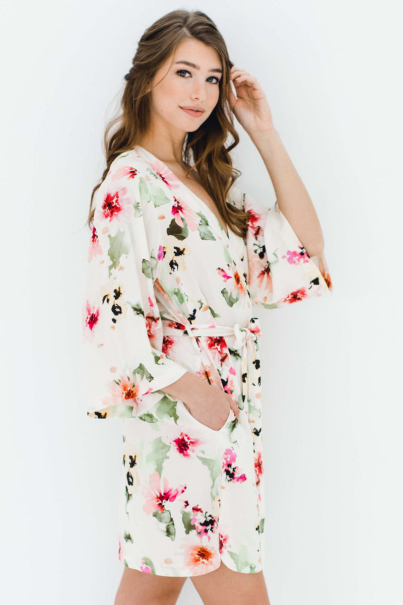 Watercolor Dreams Floral Print Bridesmaids Robes Bridal Party Kimono R Girlandaseriousdream Com