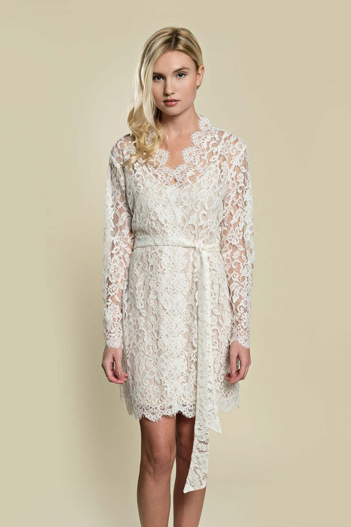 Giselle Leavers Lace Robe coat cover up in ivory - style r600