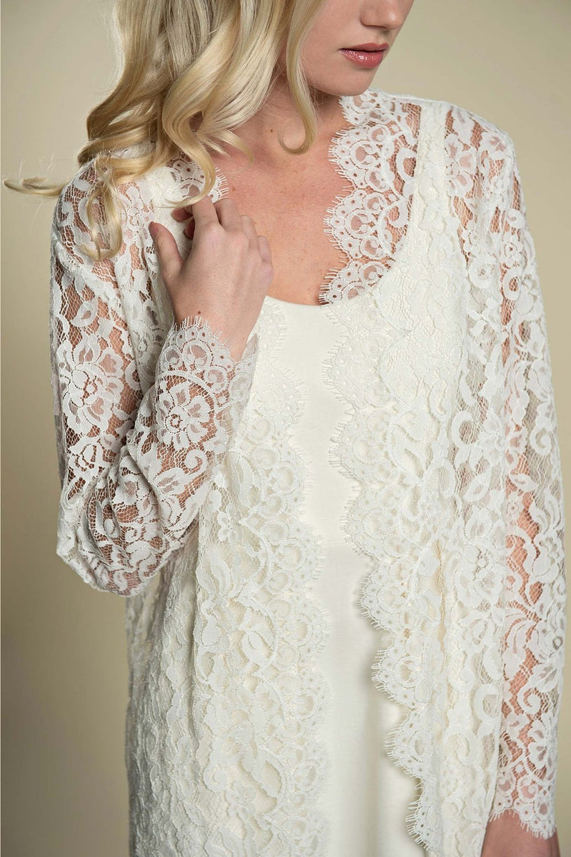 Anthropologie Giselle Leavers Lace Wedding Robe ivory bride