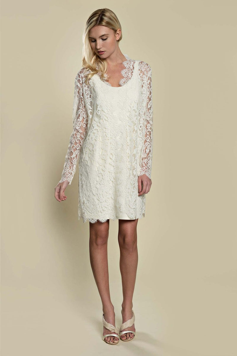 Anthropologie Giselle Leavers Lace Wedding Robe ivory rehearsal dinner