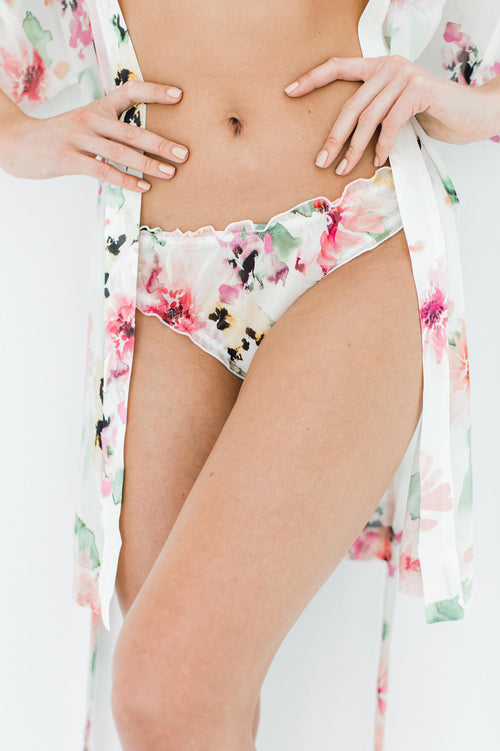 Watercolor Dreams Floral print Silk Satin Panties Briefs ruffled knickers