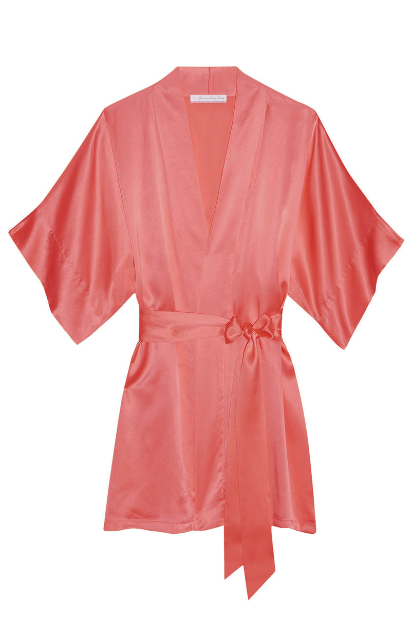 Samantha bridal silk kimono robe bridesmaids robes in Strawberries & Cream colors