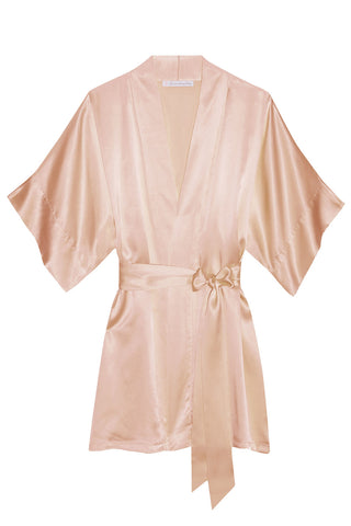 Kate French Lace & silk lined wedding robe wrap in off white