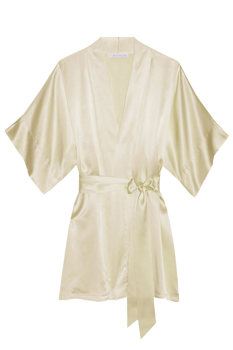 Samantha Silk getting ready bridal bridesmaids robe kimono in dark ivory - champagne