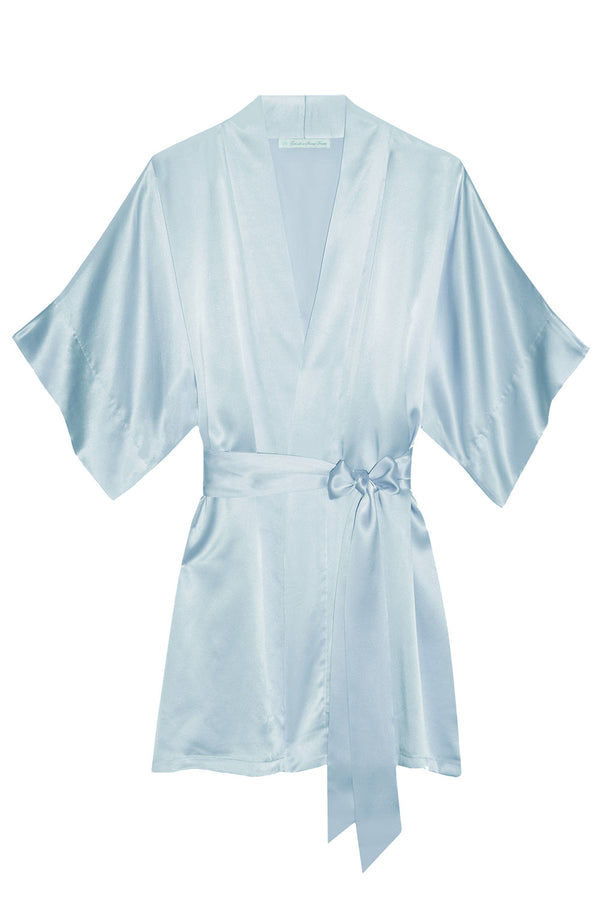 Samantha bridal silk kimono robe bridesmaids robes in Something blue