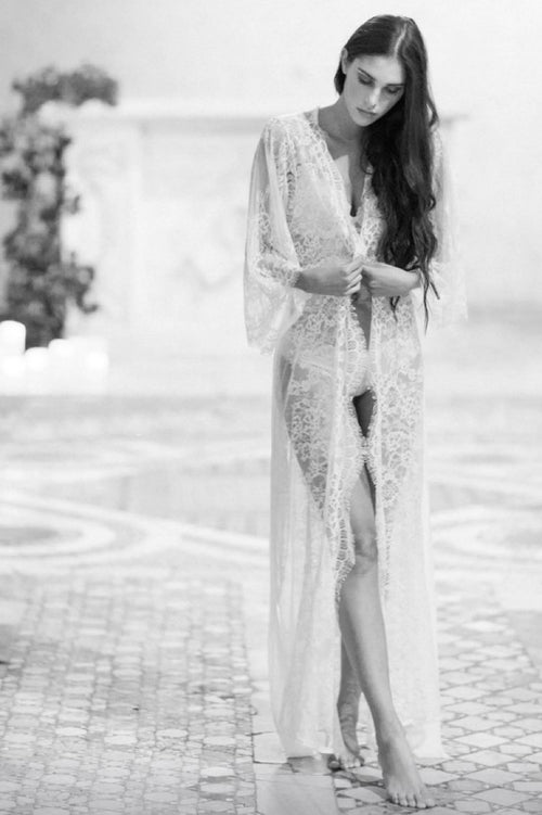 Emma Lace Long Dressing Gown Kimono in Ivory