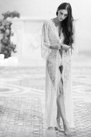 Girl&aSeriousDream for Anthropologie Giselle Leavers Lace Robe Coat in Ivory - style r600