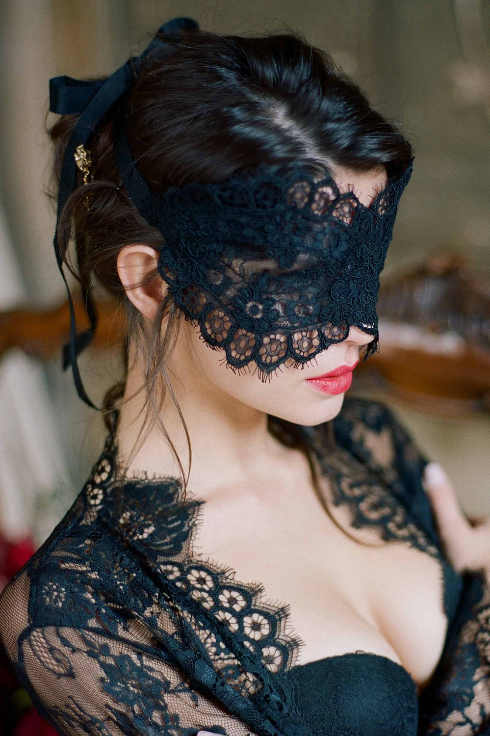 Rayna Alencon Lace Blindfold Venetian Boudoir Eye Mask in Ivory or Black
