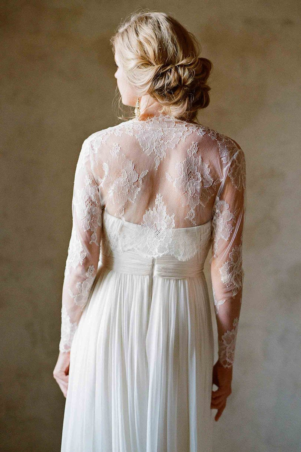 Roseline bridal French lace sheer tulle bolero cover up shrug in ivory - style 210