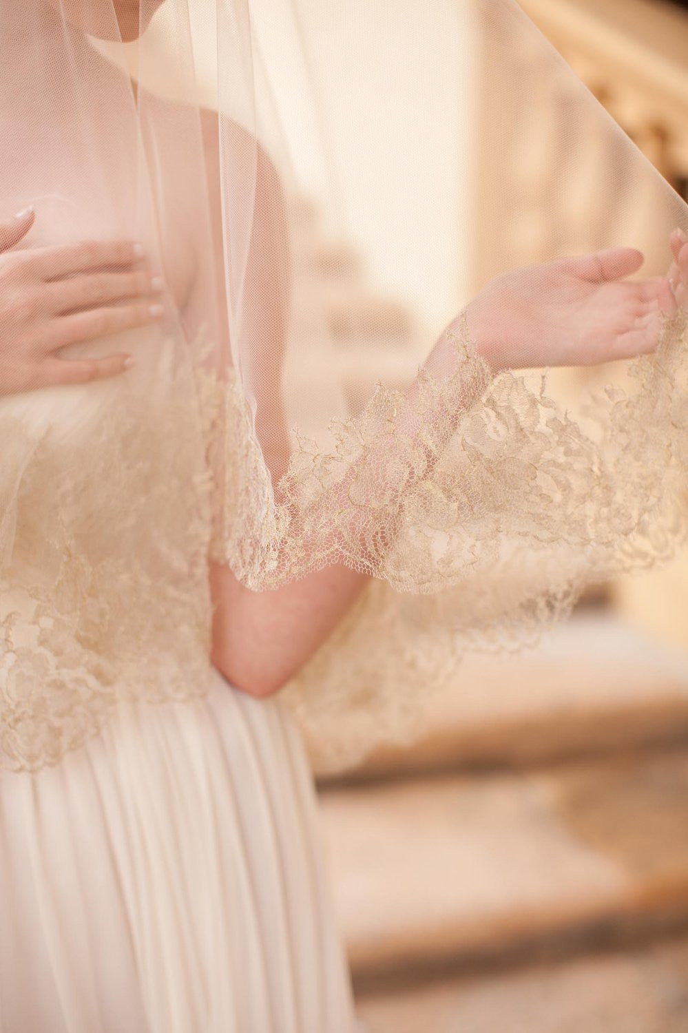 Gilded French Lace drop veil in Ivory Gold
