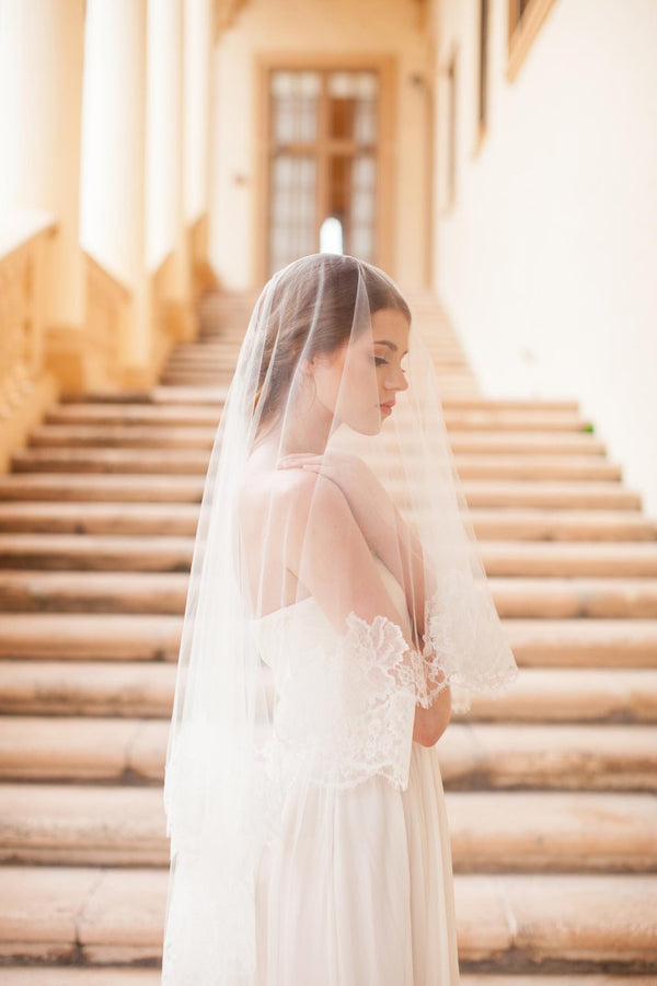 Roseline French Lace Veil in Ivory or Off-white