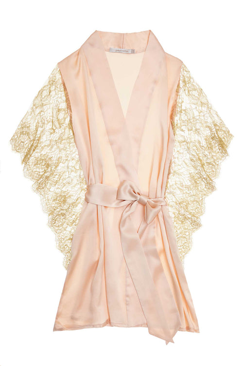 Grace winged Silk & Lace Kimono Robe in Blush pink with gold