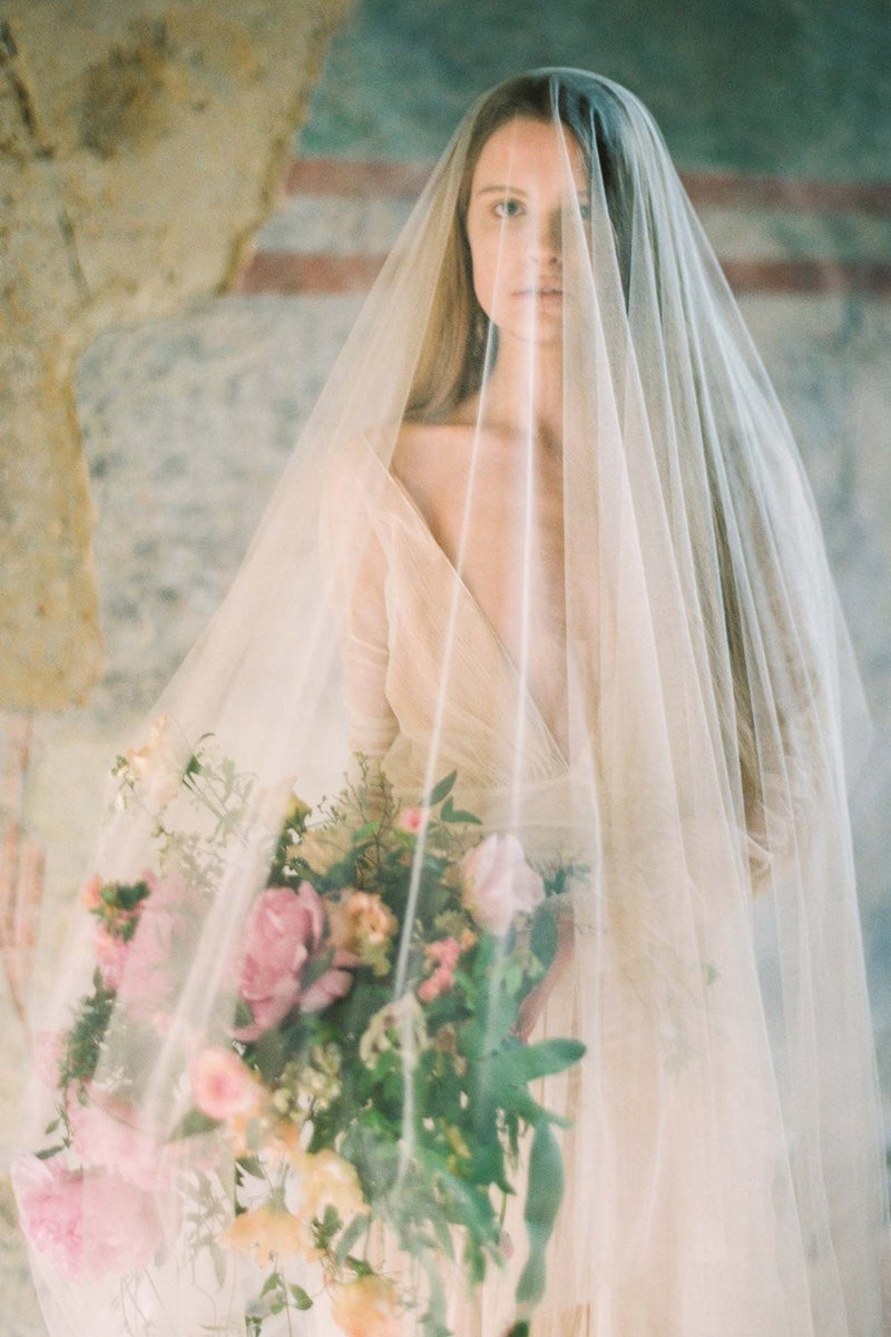 Heirloom blusher sheer Silk Tulle veil in Ivory