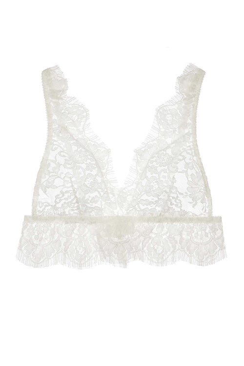 Jen French soft cup lace bra bralette in Ivory