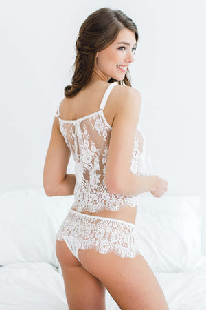 Jen French lace cami top in Ivory