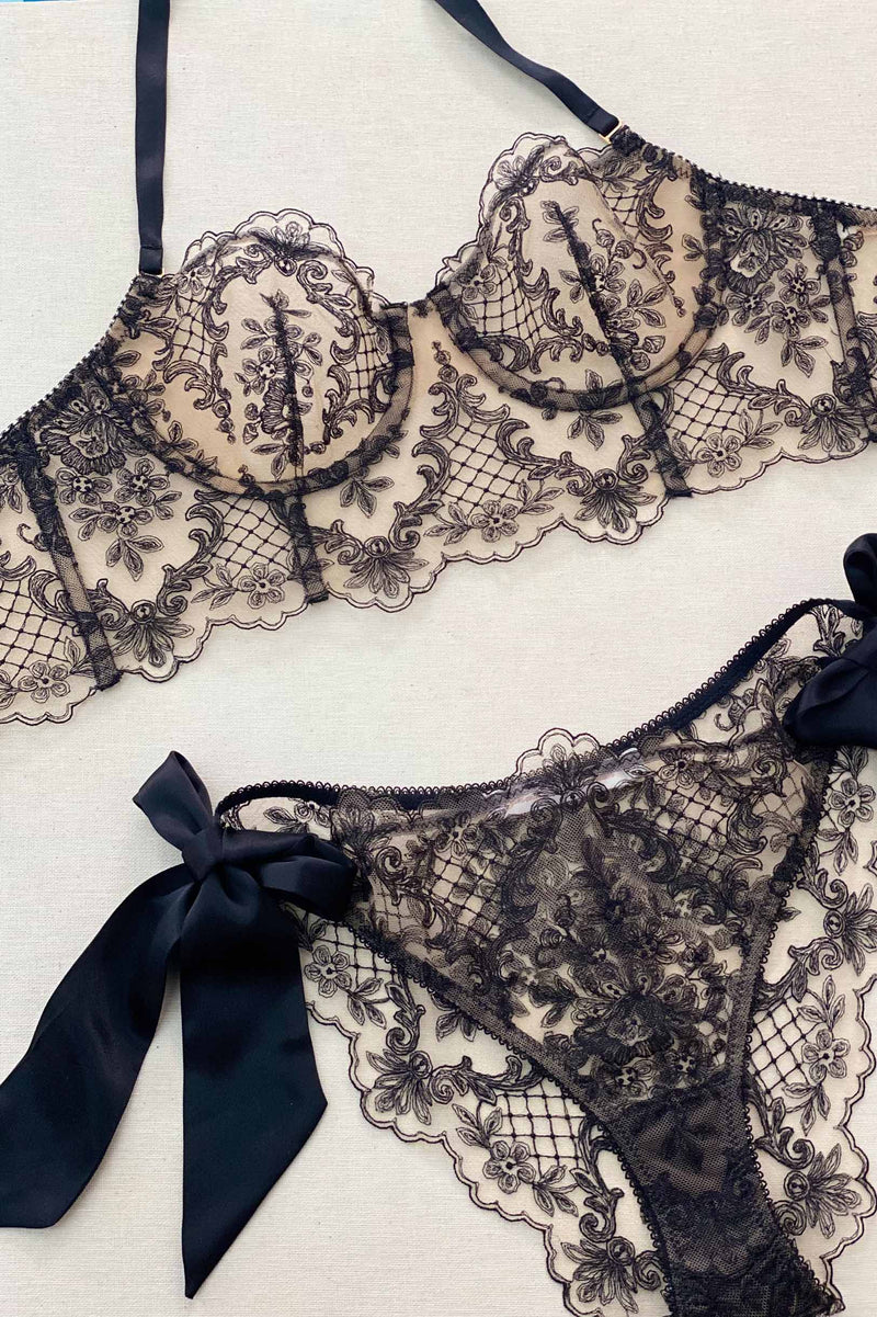 Joy French embroidery lingerie set in Black