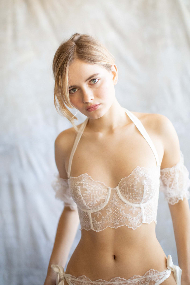 Joy Proctor for Girl & a Serious Dream French embroidery bustier bra Ivory