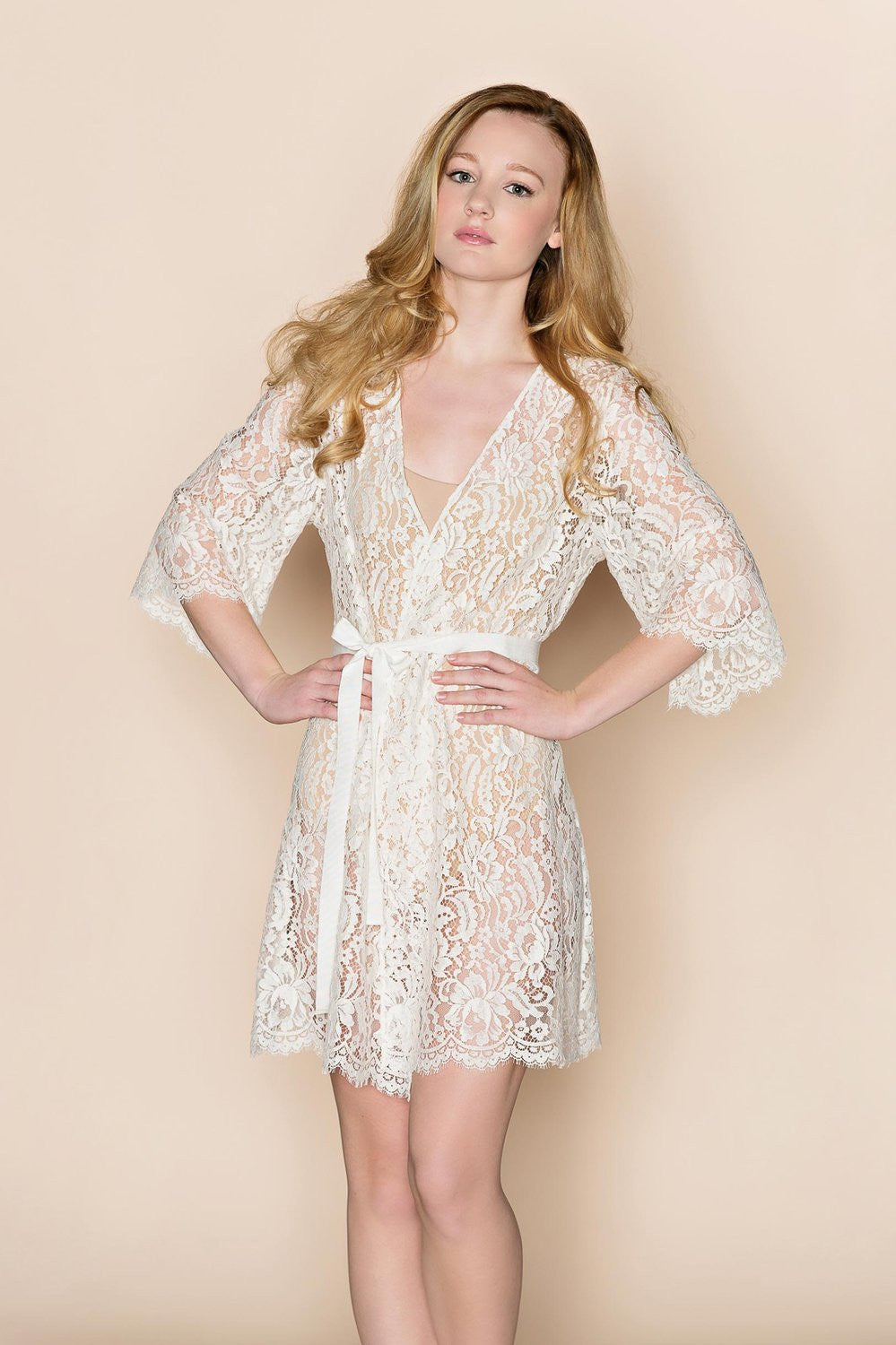 Kate French Lace robe wedding wrap in off white - style 106