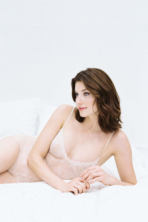 Magnolia French Chantilly Lace and tulle Bodysuit In light pink