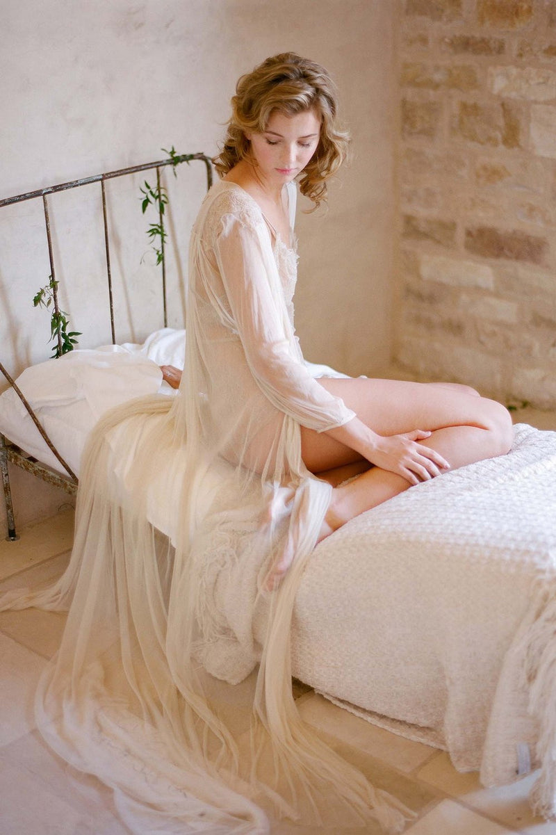 Magnolia Silk Tulle French Lace Robe gown In Nude