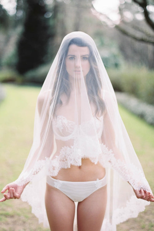 Marie Ethereal Silk Tulle & French Lace Veil
