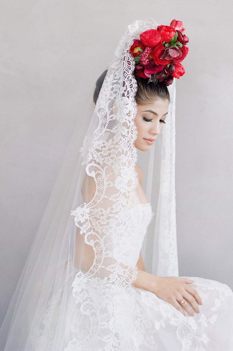 Madrid French lace mantilla blusher veil in ivory Elizabeth Messina Flutter magazine Joy Proctor