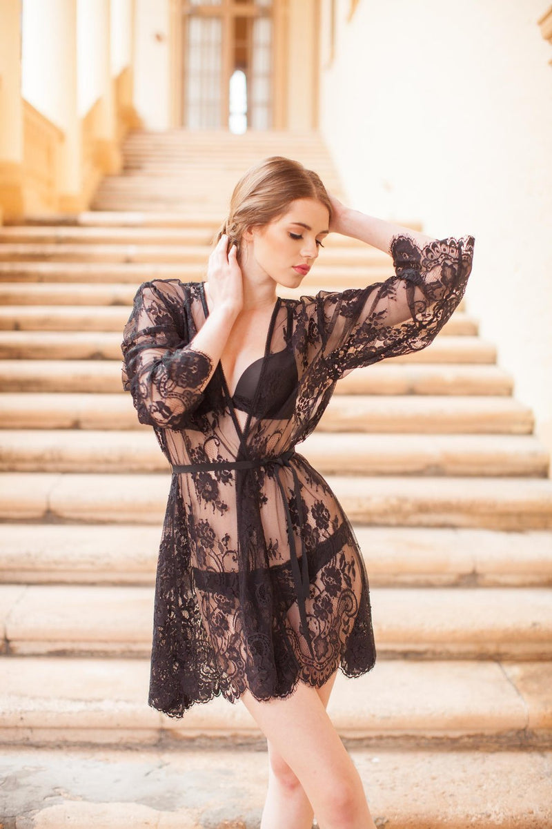 Boudoir Bridal Lace Robe in Black Bridal lace wrap