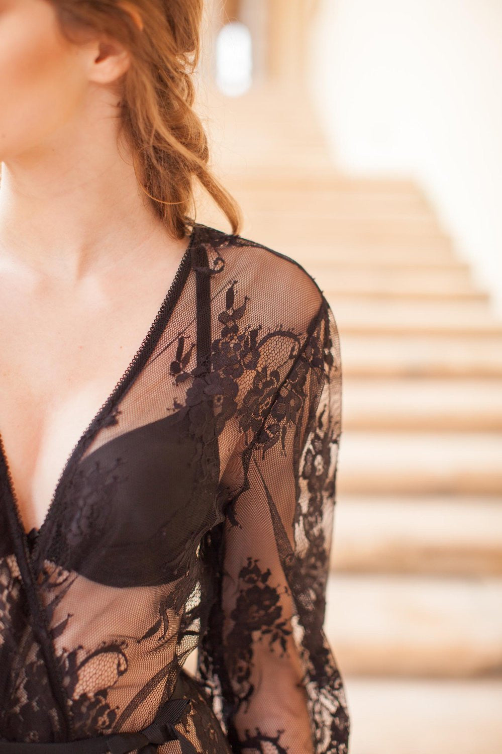 Pour le Boudoir Bridal Lace Robe in Black