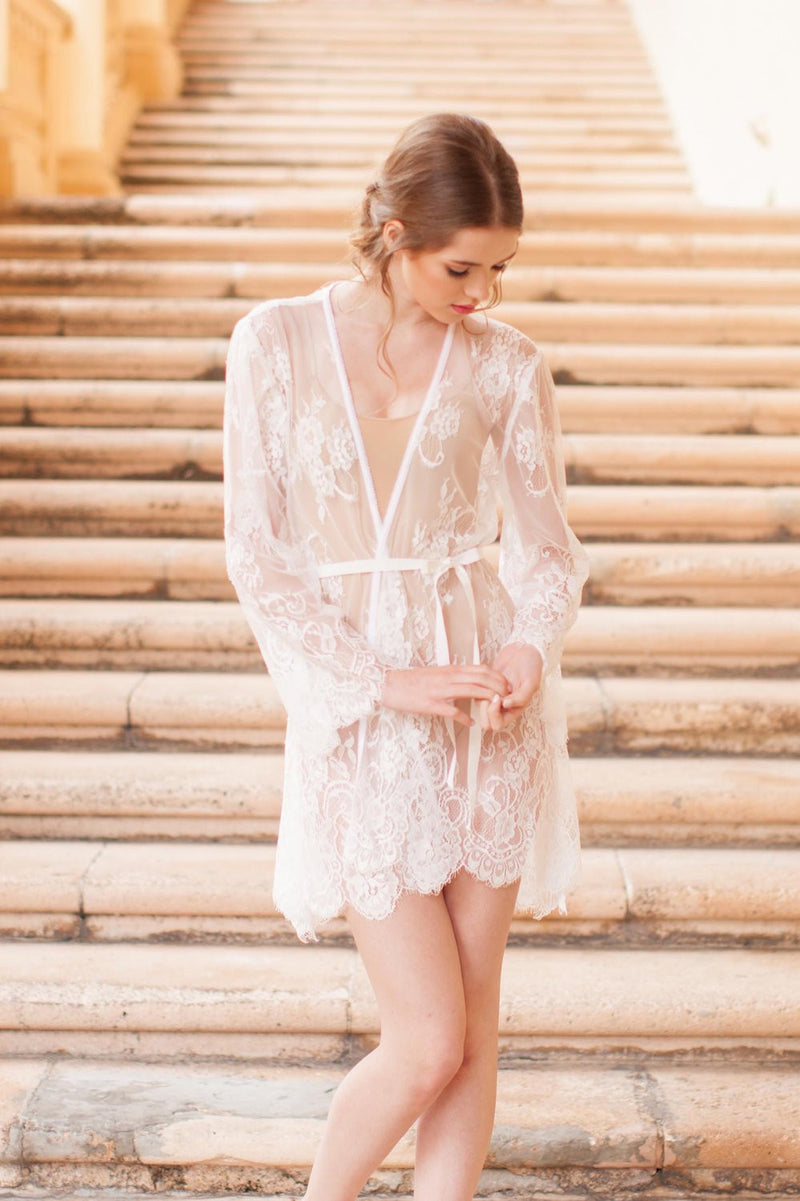 Boudoir Bridal Lace Robe in Ivory Bridal Party